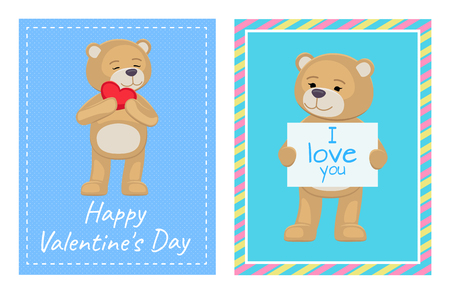 I Love You and Me Teddy Bears Vector Banque d'images - 101081807
