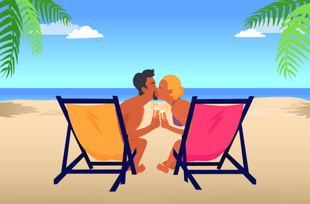 Man and Woman Kiss in Recliners on Sandy Beach.