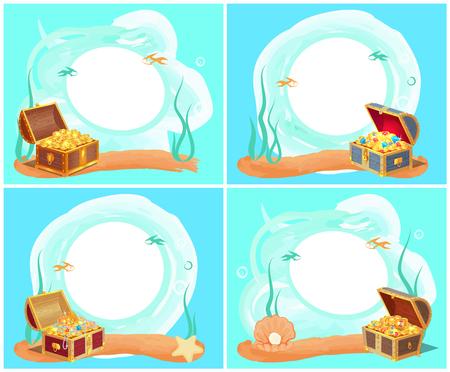 Treasures in Chest Sea Water Vector Illustration