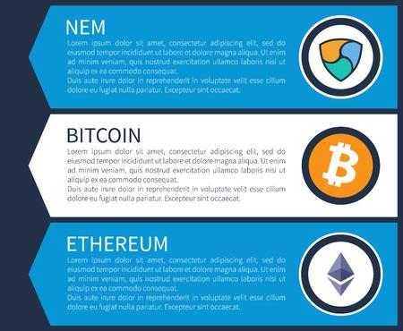Colorful nem, orange bitcoin and white ethereum inside circles on Internet promotional page template with sample texts cartoon vector illustration. Ilustração