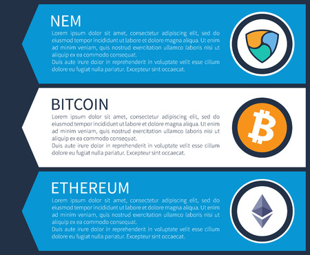 Colorful nem, orange bitcoin and white ethereum inside circles on Internet promotional page template with sample texts cartoon vector illustration. Illustration