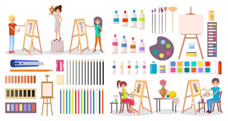 Artists at Work and Art Supplies Set Illustration Standard-Bild - 101099821