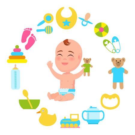 Toddler Infant Diaper with Plush Teddy Bear Vector 일러스트