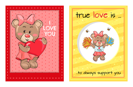 True Love is an Always Support to you Teddy Girls Banque d'images - 101099824