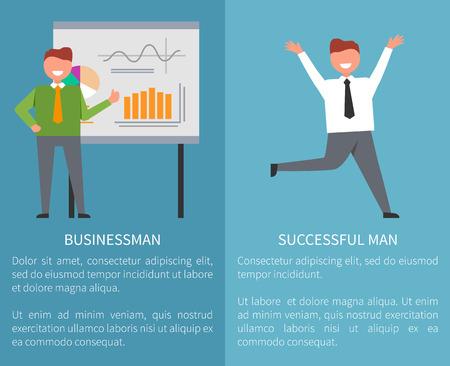 Businessman and Successful Man Vector Illustration Illusztráció