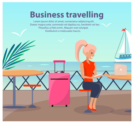 Business Travelling Woman Vector Illustration