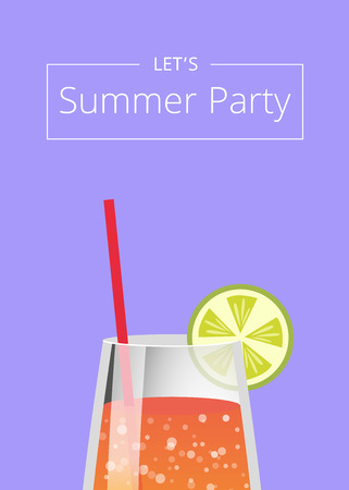 Lets Summer Party Poster with Lemonade in Glass  イラスト・ベクター素材