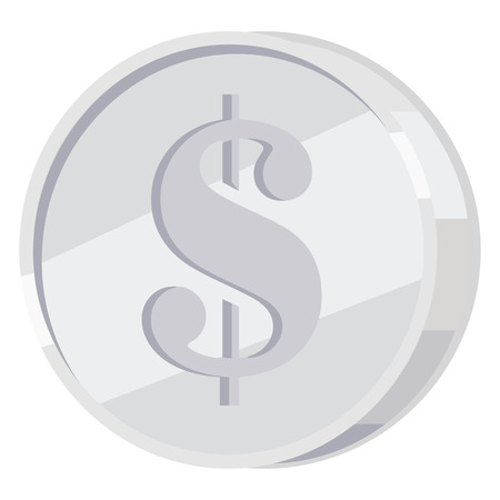 Silver Coin with Dollar Sign Flat Vector Icon Illustration