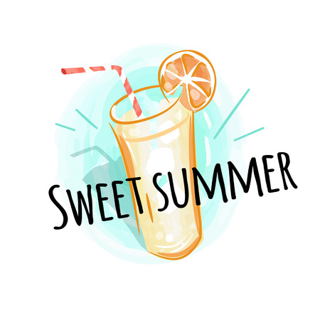 Summer Time Background with Fresh Drink Vector