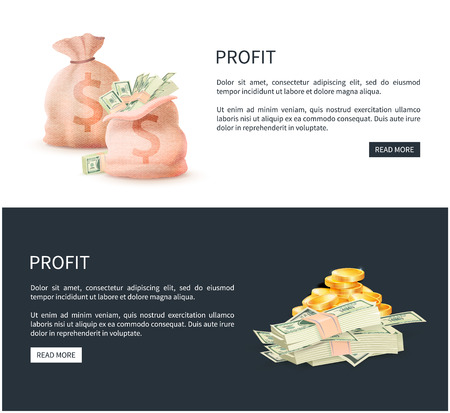 Profit web posters set with sacks full of money vector illustration of bag with dollar banknotes and golden coins, pages with read more buttons and text
