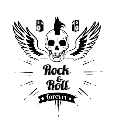 Rock n roll forever, image of skull with punk hairstyle and wings, loudspeakers and title below picture, lines as decoration vector illustration