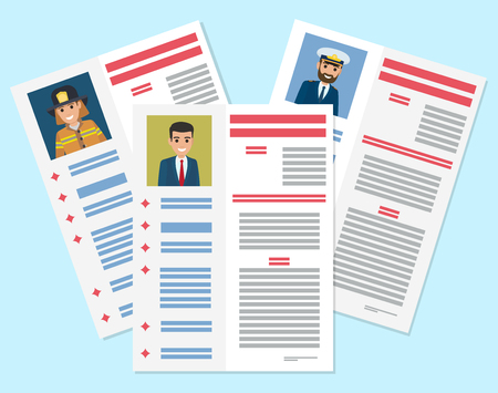 Career information leaflet flat vector. Job resumes pages with applicant portrait and personal data. Curriculum vitae or dossier. Profession presentation sheet illustrations for labor day concept Stockfoto - 101099603