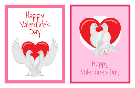 Gorgeous white doves couples in love with big red heart between or behind them isolated cartoon flat vector illustrations set for Valentines day.