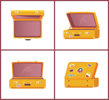Set of Retro Suitcases Top Side Front View, Memory