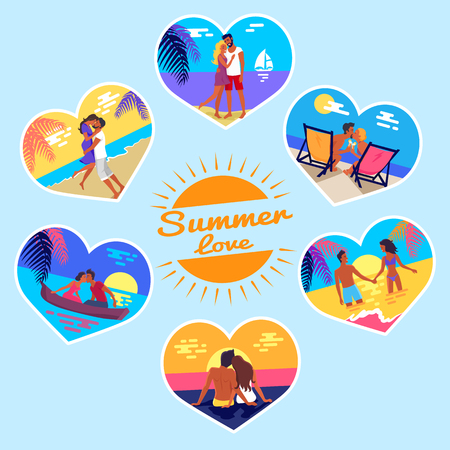 Summer love memory photos of happy couples on vacation at seaside that kiss on sunset, hug on beach vector banners in heart shape frame set. Illustration