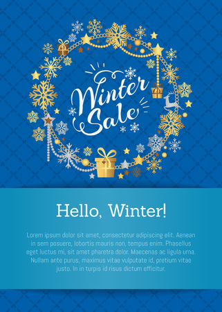 Hello winter, sale poster in decorative frame made of silver and golden snowflakes, snowballs of gold in x-mas border on blue with place for text Ilustracja