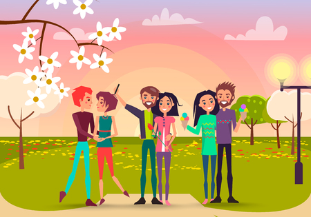 Three pair with rose and ice cream in spring park vector illustration. Enamored happy people makes selfie, admires each other