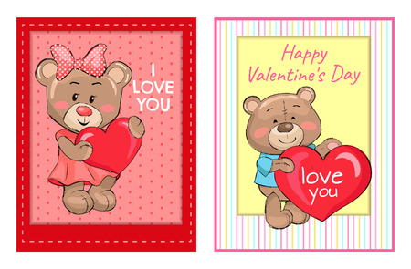 I love you Happy Valentines Day posters set with bears holding red heart, fluffy stuff teddy-bears in decorative frames on color backgrounds vector Illustration