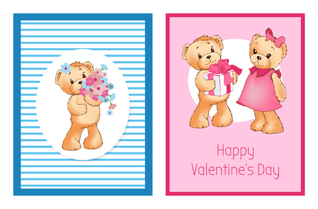 I love you and me teddy bears with heart sign vector illustration of stuffed toy animals, presents for Happy Valentines Day, cartoon posters Stock Vector - 101108040