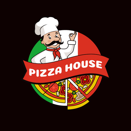 Pizza house promo logotype composed of cook in hat with mustache, slices with tasty ingredients and Italian flag isolated cartoon vector illustration.