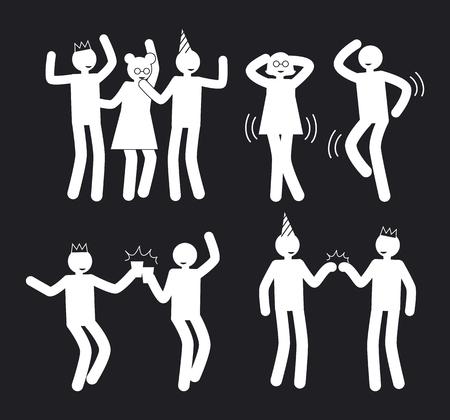 Amusement People Poses Set weiße Piktogramme