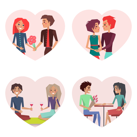 Couples in Love Set of Images Vector Illustration