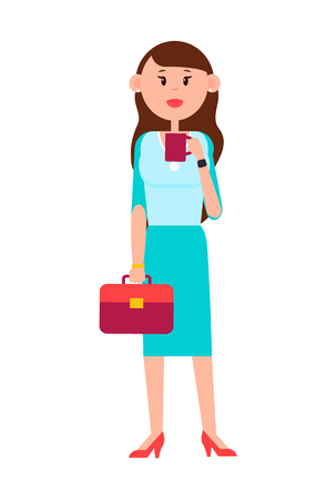 Grown-up Girl with Briefcase and Cup of Coffee