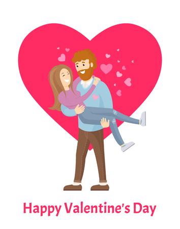 Happy Valentines Day Poster Man with Beard Woman Illustration