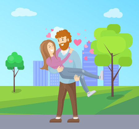 Man with Beard Holding Woman on Hands Vector Иллюстрация