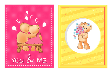 I love you and me teddy bears with heart sign vector illustration of stuffed toy animals, presents for Happy Valentines Day, cartoon posters Banque d'images - 101111760
