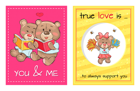 You and me true love is an always support, lovely teddy girl in cheerleading uniform and bears sit together and read book vector Valentines Day concept Stock Vector - 101111761