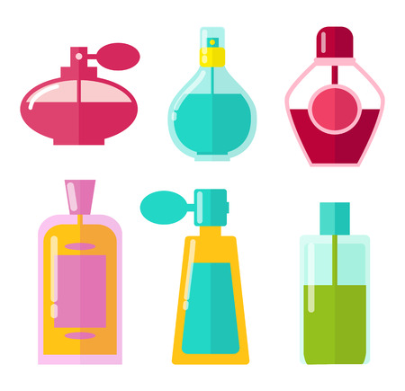 Perfumes in Bottles Collection Vector Illustration Illustration