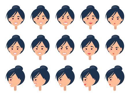 Set of Different Emotions on Cute Female Face Ilustração