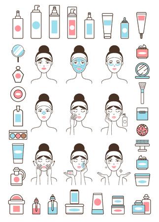 Frau kümmert sich um ihre Gesichtshaut mit Cremes Vektorgrafik
