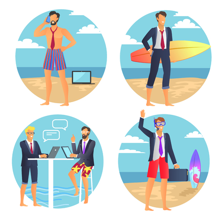Business summer poster, businessman with suitcase, people chatting near laptop, man talking on phone, seaside and sand isolated on vector illustration