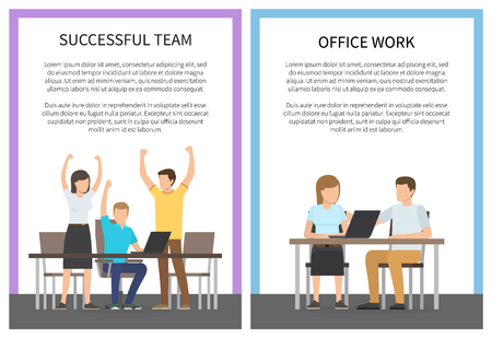 Successful team office work illustration 스톡 콘텐츠