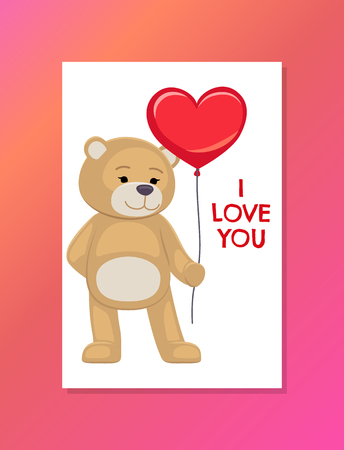 Bear on Festive Postcard with I Love You Sign Stock Photo
