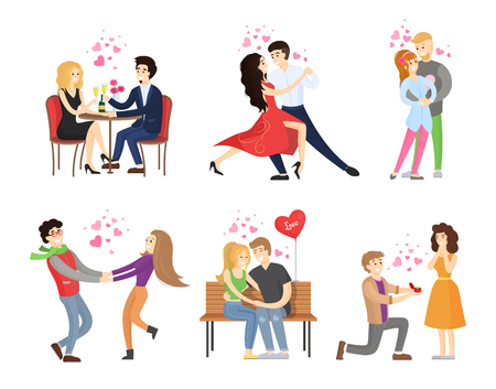 Boyfriend and girlfriend rest in restaurant, dance tango, embrace and merrily hugs on bench, man makes proposal to woman vector illustration isolated set