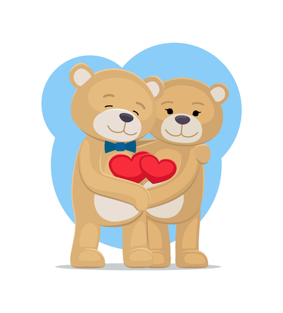 Bears lovers hold hearts in hands, male and female teddy embrace each other, vector illustration of happy couple isolated on white background