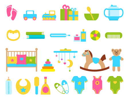 Toys and childish objects, collection of items for kids, cradle and pillows, toys and clothes, pins and presents, bowl and spoon, vector illustration