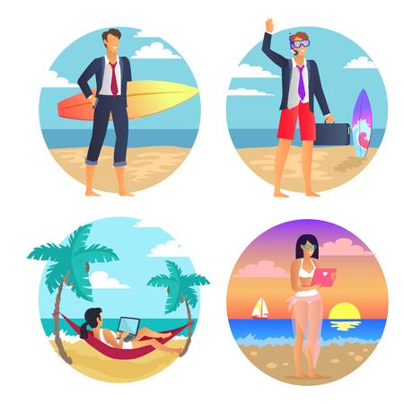 Business Summer Freelance Vector Illustration