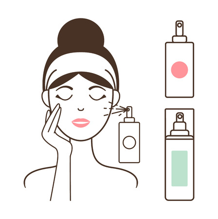 Woman Applies Micellar Water with Spray Bottle Ilustração