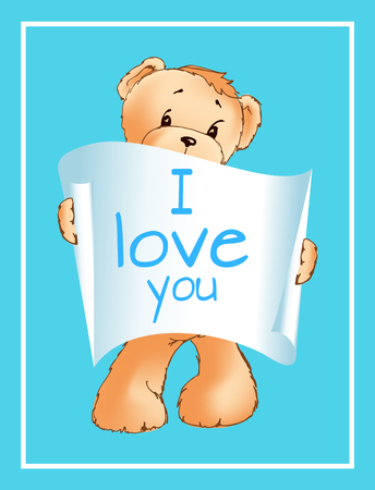 I Love You Inscription on Paper Scroll Teddy Bear