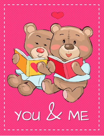You and Me Teddy Bear in Love Reading Books Poster Illustration