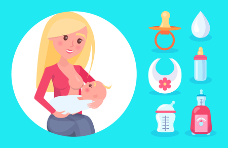 Young Mom with Bright Hair Feeding Cute Small Baby Illustration