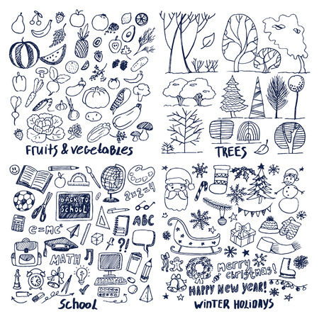 Four Layouts Sample of Fruits Trees with School Holiday concept vector illustration