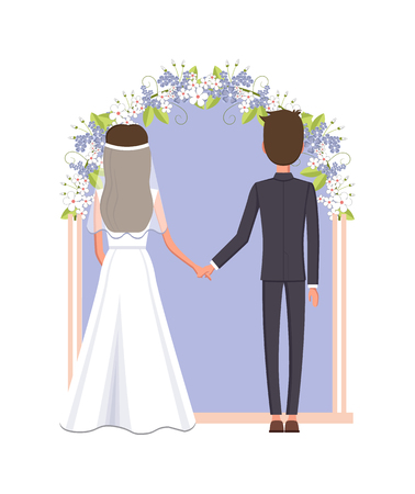 Groom and Bride Under Arc Vector Illustration