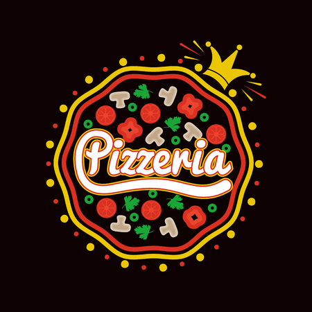 Pizzeria promotional logotype with whole pizza full of mushrooms and small gold crown isolated cartoon flat vector illustration on white background. Illustration