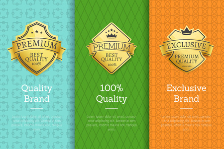 Brand 100 quality exclusive guarantee premium golden labels sticker awards, vector illustration certificates posters isolated on color background
