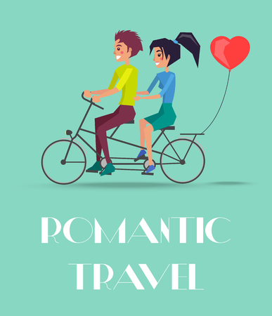 Romantic travel vector illustration with couple riding on twin bike with heart shape balloon at back, happy lovers having fun together, Valentines Day